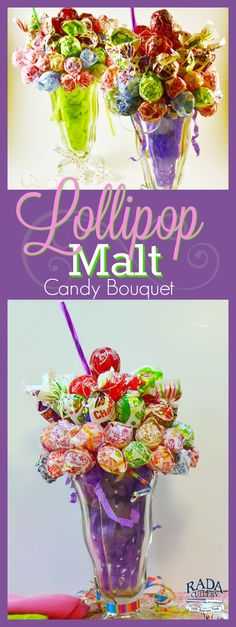 Just in time for Valentines Day! If you're looking for a creative, fun way to brighten up someone's day, look no further. The Lollipop Malt is a delightful treat, one that playfully indulges a sweet tooth while showing that you care. Just follow these easy instructions to make a beautiful Lollipop Malt candy bouquet of your own. It's a great idea for nearly any occasion! #candy #arrangement #bouquet #idea #lollipop