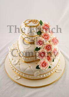 Wedding Cake Golden Pearls - Piece Montee Mariage Perles Dorees - Bruidstaart