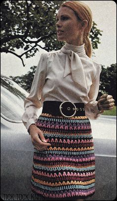 No.144 PDF Vintage Crochet Pattern Women's Skirt Of Many Colors - Retro Crochet Pattern - Instant Download - Above The Knee (not free)