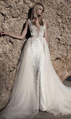 idan cohen bridal 2017 sleeveless deep vneck sheath wedding dress ball gown overskirt (celine florina) mv