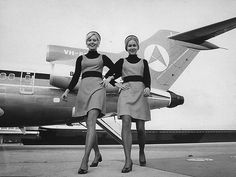 Ansett Stewardesses showing their new uniform, 1974