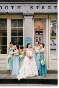 love this idea! different color dresses all the same shade!