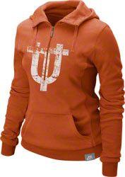 Texas Longhorns Women's Orange Nike Vault Half Zip Hooded Sweatshirt