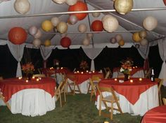 Outdoor Fall Tent Reception love the hanging paper lanterns