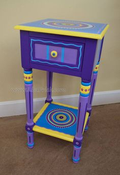 Hand Painted Mandala Side Table in Purple and Blue, Shipping Included Art Furniture, Funky Furniture, Repurposed Furniture, Cheap Furniture, Furniture Makeover, Vintage Furniture, Furniture Stores, Purple Furniture, Plywood Furniture