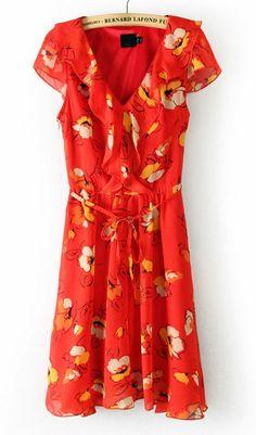 Red V Neck Belt Floral Chiffon Dress