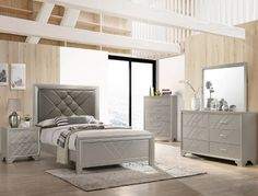 """B6970 4 pc AJ homes Phoebe silver wood finish wood queen upholstered headboard bedroom set. This set includes the Bed, Nightstand, Dresser and mirror. Bed measures 64"""" x 86"""" x 58"""" H. Nightstand measures 26"""" x 17"""" x 25.6"""" H. Dresser measures 63"""" x 17"""" x 37.8"""" H. Mirror measures 45.5"""" x 1.2"""" x 37"""" H. Chest available separately at additional cost and measures 35"""" x 17"""" x 51.2"""" H. Also available in Cal King and... Silver Nightstand, Easy Living Furniture, Dresser Top, Queen Platform Bed, King Bedroom Sets, Queen Headboard, Panel Bed, King Queen, Mirror Bed"""