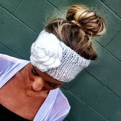 FACEBOOK DEAL Knitted Headband with Flower Slip on Ear Warmer Head Band - Adult Hair Wrap head band... perfect for winter!!