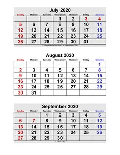 July August September 2020 Calendar 3 Months Per Page Printable – Free Printable 2020 Monthly Calendar with Holidays Printable Calendar 2020, Monthly Calendar Template, September Calendar, April May, June, Sunday Monday Tuesday, Business Journal, Short Article, Meaning Of Life