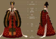 Goryeo Dynasty(AD918-1392) Korean traditional clothes #hanbok 종묘소장, 공민왕의 왕비 노국 공주 예복. - 문화콘텐츠닷컴