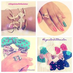 WE sister love accesories here is some stuff we bought a while ago #cute #bow #jewellery   #rings  #cutering  #mid-ring  #bowring #bracelets