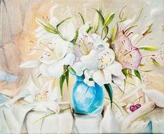 Lily by ArtforInterior on Etsy Presents For Friends, Oil Painting On Canvas, Home Art, Glass Vase, Lily, Create, Amazing, Gifts For Friends, Orchids