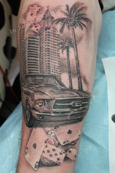 car realistic tattoo by Mirek vel Stotker,Stotker Tattoo , London; cards gambling , palm trees
