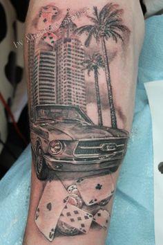 car realistic tattoo by Mirek vel Stotker,Stotker Tattoo , London; cards gambling , palm trees