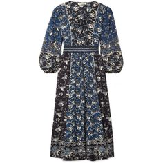 Ulla Johnson Iona embroidered printed cotton-blend midi dress (6.475.195 IDR) ❤ liked on Polyvore featuring dresses, day dresses, storm blue, blouson sleeve dress, ulla johnson dress, crop dress, blue midi dress and stitching dresses