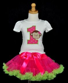 Girls Birthday Mod Monkey Hot Pink and Lime Pettiskirt Set Monkey Birthday Parties, Birthday Party Themes, Girl Birthday, Birthday Ideas, Birthday Shirts, Birthday Outfits, Monkey Girl, Pink And Green, First Birthdays