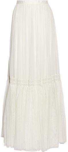 Needle & Thread Bridal Lace-trimmed Tulle Maxi Skirt - Ivory