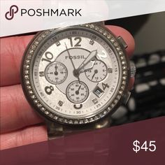 Fossil Watch Fossil watch with clear band and rhinestones around the face. Needs a new battery. Fossil Accessories Watches
