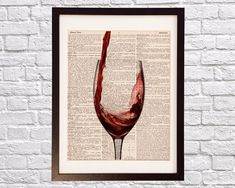 Vintage Red Wine Dictionary Print Cocktail Art by DictionArt