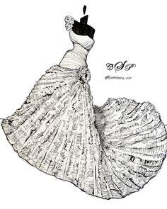 11x14 Custom Wedding Dress Sketch by abgraham on Etsy, $110.00