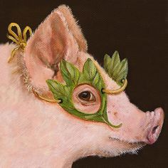 Pig Masquerade by Vicki Sawyer - cool pig in a leaf mask Illustrations, Graphic Illustration, Pig Art, Cute Pigs, Animal Paintings, Pet Portraits, Painting Inspiration, Pet Birds, Painting & Drawing