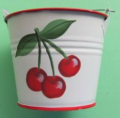 Country metal fruit pail for picking cherries