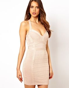 Lipsy Glitter Bandage Body-Conscious Dress with Plunge Neck