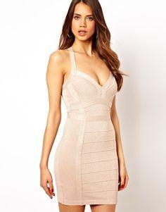 Image 1 of Lipsy Glitter Bandage Body-Conscious Dress with Plunge Neck