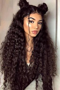 Lace Front Black Wig short curly wigs for african american women undetectable Lace hair wigs – hairstyles for curly hair natural Baddie Hairstyles, Hairstyles With Bangs, Trendy Hairstyles, Black Hairstyles, Long Curly Hairstyles, Short Haircuts, Hairstyles 2016, Latina Hairstyles, Side Ponytail Hairstyles