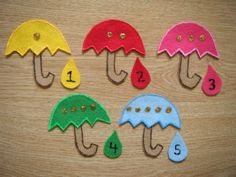 Spring felt board  I will use magnetic numerals and add magnet to back of umbrellas tobe used on a magnetic board/tray