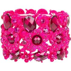 """Gorgeous Tone on Tone Wide Hot Pink Fuchsia Crystal Flower Stretch Cuff Bracelet Heirloom Finds. Save 78 Off!. $9.99. Bracelet measures approximately 2"""" wide. Bracelet is 7"""" around but stretches to fit most. Arrives Gift Boxed!. Monochromatic Bracelet and Stones. Lucite and Rhinestone Hot Pink Faceted """"gems"""""""
