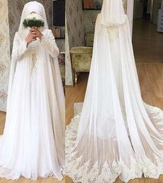 838 Likes, 21 Comments – Hijab Wedding Gowns (islamic precious steel. Wedding Abaya, Muslimah Wedding Dress, Nikkah Dress, Muslim Wedding Dresses, Hijab Bride, Muslim Brides, Wedding Attire, Bridal Dresses, Wedding Gowns