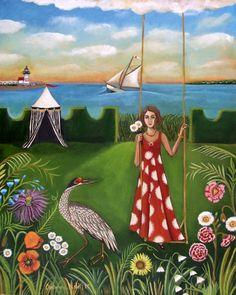 Fine Art Print of my Original painting Daisy's Summer On Nantucket by catherine nolin