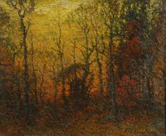 """Sunset Through Forest,'' John Joseph Enneking, oil on canvas, 20 x 24"", private collection."