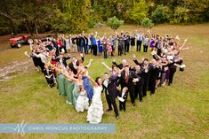 Wedding guests in heart shape celebration photo