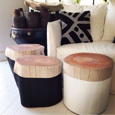Incredibly sturdy and elegant, these beautiful log side tables are great as a table or stool. Available in black and white with natural top. Log Furniture, Painted Furniture, Plywood Furniture, Modern Furniture, Furniture Design, Painted Chairs, Luxury Furniture, Modern Decor, Log Side Table