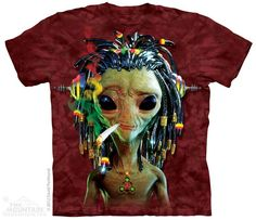Jammin' Rasta Alien Smoking a Joint Adult T-shirt by The Mountain