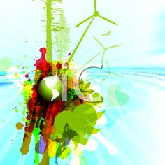 iCLIPART - Royalty Free Clipart Image of a Grungy Green Energy Background