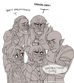 Elfs in DA http://knight-enchanter.tumblr.com/page/2 Zevran keep your hands to yourself. poor Fenris. xD