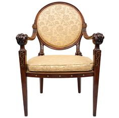 An early C19th rare and extremely stylish Russian mahogany open armchair | From a unique collection of antique and modern armchairs at http://www.1stdibs.com/furniture/seating/armchairs/