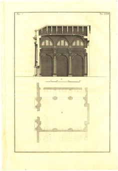 Palladio Antique Print  Plan and Cross Section by CarambasVintage, $78.00