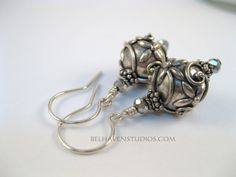 Bali oxidized sterling silver round raised by BelhavenStudios