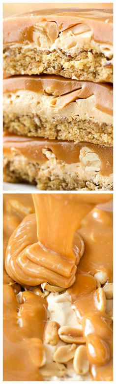 Salted Caramel Peanut Bars ~ A soft pretzel flavored base is covered with a creamy nougat layer, sprinkled with peanuts, and coated in dreamy salted caramel... These easy to make bars taste like a great candy bar!