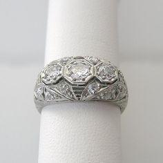 Antique Engagement Ring or Wedding Band Platinum Diamond Filigree Details