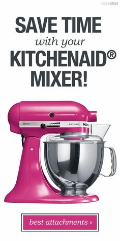Get The Most Out of Your KitchenAid Mixer: Using the Attachments - Mixer - Ideas of Mixer - Try some new recipes and put your KitchenAid gadgets to use! Kitchen Aid Recipes, Kitchen Hacks, Kitchen Gadgets, Kitchen Tools, Kitchen Aid Appliances, Cooking Appliances, Kitchen Aide, Slate Appliances, Retro Appliances