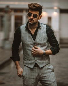 One of my favourite looks Suit Jacket, Vest, Male Model, Double Breasted Suit, Mens Fashion, Suits, My Favorite Things, Sunglasses, Jackets