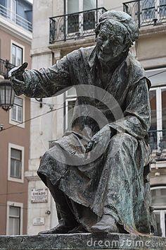 Statue of poet António Ribeiro, the Chiado, in the Chiado Square, Lisbon, Portugal