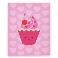 Cupcake Canvas Print #cupcake #candy #food #heart #trendy #canvas