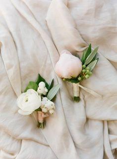 Pretty peony boutonnieres: http://www.stylemepretty.com/little-black-book-blog/2015/08/17/dreamy-romantic-garden-inspired-montecito-wedding/   Photography: Diana McGregor http://www.dianamcgregor.com/