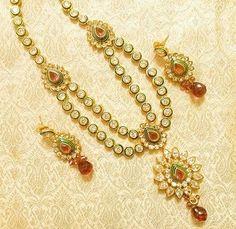 Royal Designer Rani/Pink AD Zircon 2 Liner Necklace Link Set